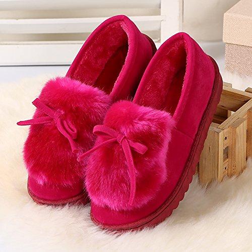 LaxBa Ladies Cachemire tricoté coton Anti-Slip Chambre Chaussons rose RedFeet pied large big fat un yard