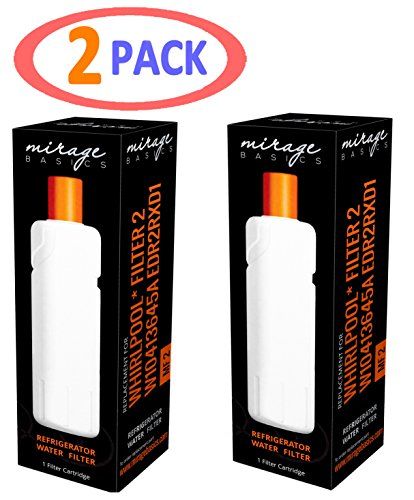 Whirlpool Filter 2 W10413645A EDR2RXD1 KENMORE Compatible Mirage Basics Water Filter 2 PACKS by Mirage Basics