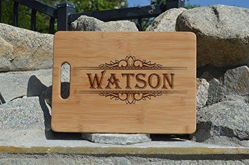 Family name Personalized Wooden Cutting Board -Fancy Custom Cutting Board - Housewarming Gift, Wedding Gift, Personalized - Engraved Cutting Board