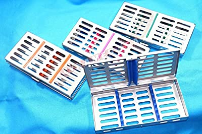 New 4 German Stainless Steel Dental Autoclave Sterilization Cassette Rack Box Tray For 7 Instruments ( Set Of 4 Color )