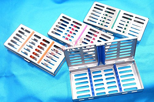 New 4 German Stainless Steel Dental Autoclave Sterilization Cassette Rack Box Tray for 7 Instruments Set of 4 -