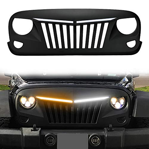 (SUNPIE Jeep Wrangler JK Grill with DRL & Turn Signal LED Light Bars - Matte Black Grille Replacement 2007-18 Rubicon Sahara Sport (White DRL Amber Turn Signals, Paintable, ABS))