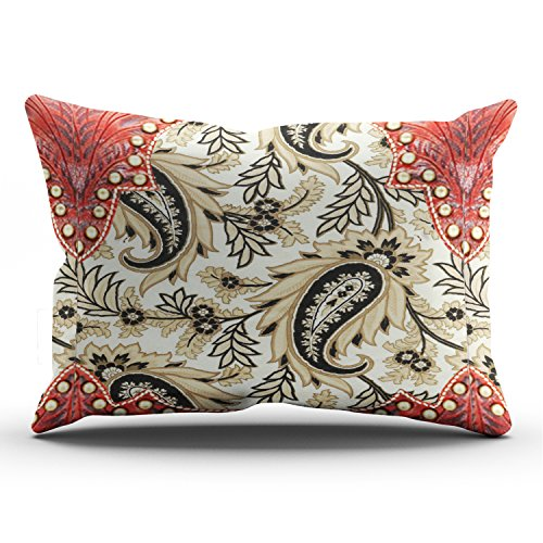 (Hoooottle Custom Western Paisley Leather Look Brown Hues Royal Pillowcase Rectangle Zippered One Side Design Printed 20x36 Inch King Throw Pillow Case Cushion Cover)