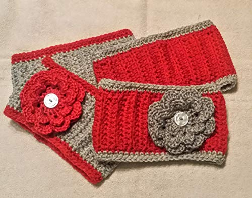 - Hand Crocheted Headband Earwamer, flower or plain, red and gray (Ohio State, Tampa Bay, Colorado, Washington College, Northeastern, Montana, Worcester)