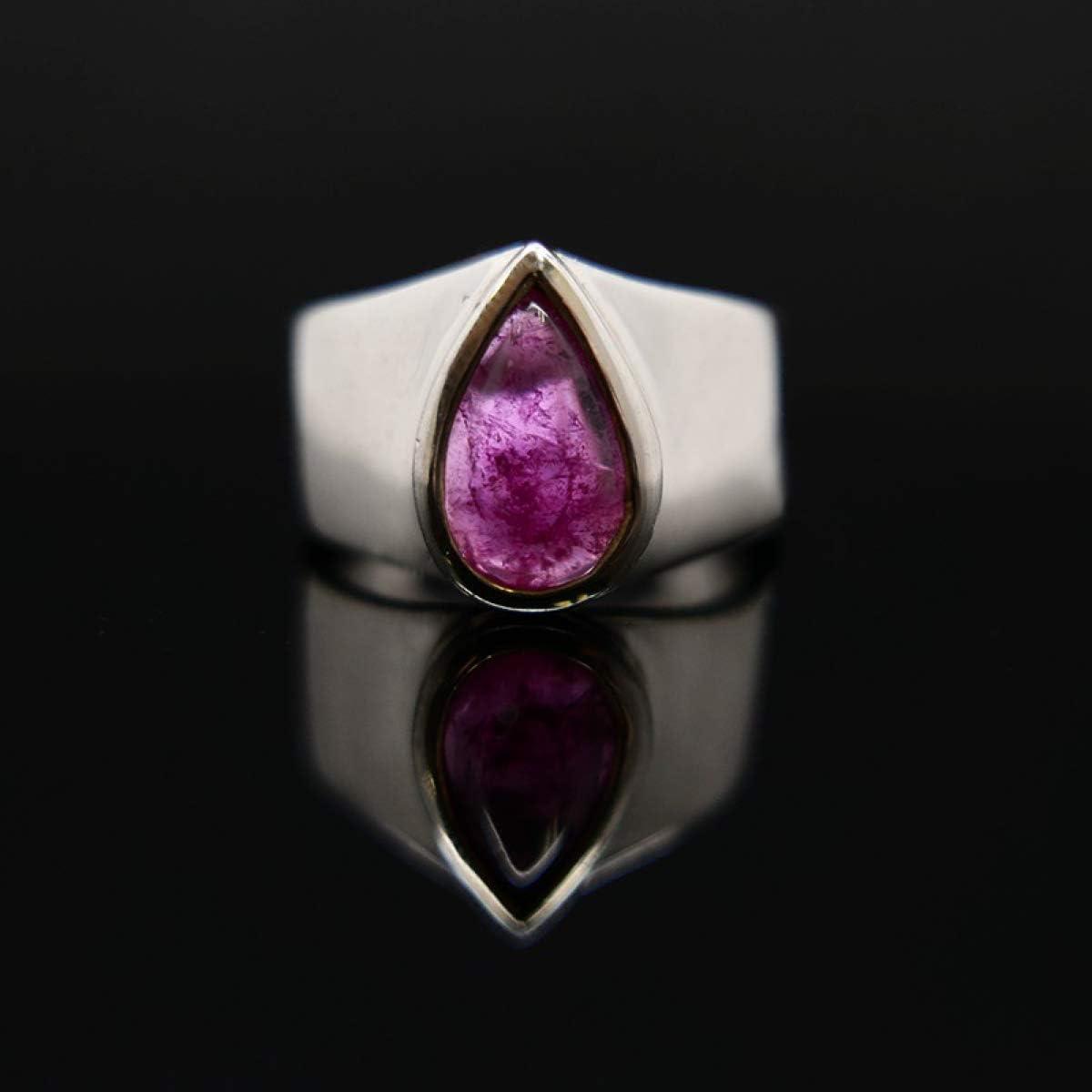 Anillo con Lágrima de Turmalina Sandía - Plata de Ley (A89) Minerales y Cristales, Belleza Energética, Meditacion, Amuletos Espirituales