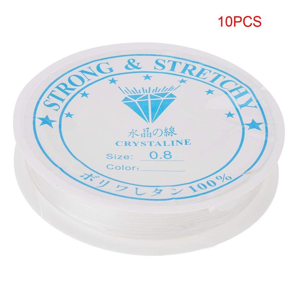 10 Rolls 5m//8m//11m//15m//18m//24m Strong Crystal Stretchy Elastic Line Transparent Beading String Thread for Jewelry Making Beading Bracelet Wire 0.4mm//24m