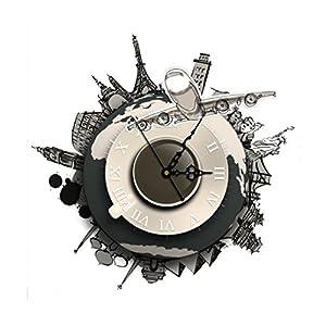 Wall Clock, Han Shi DIY 3D Wall Stickers Clock World Earth Wall Decal Clock Home Office Kitchen Bedroom Decoration Craft Art Clock Quartz Nice Quiet Clock