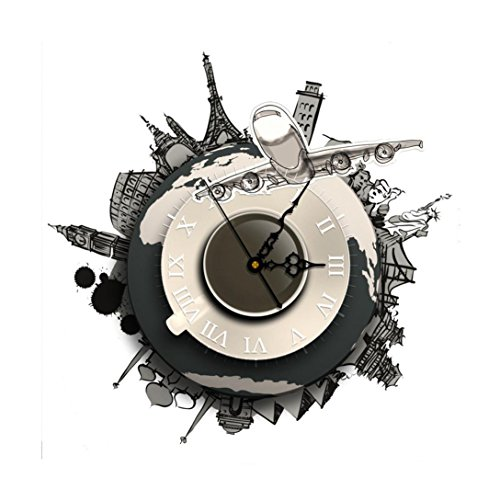 Wall Clock, Han Shi DIY 3D Wall Stickers Clock World Earth Wall Decal Clock Home Office Kitchen Bedroom Decoration Craft Art Clock Quartz Nice Quiet - Invicta Sunglasses