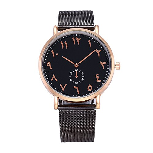 Aehibo Women Quartz Watch Arab Number Unique Analog Fashion Classic Clearance Geneva Stainless Steel Lady Student Watches Female Watches on Sale Watches for Women (Black-Black)