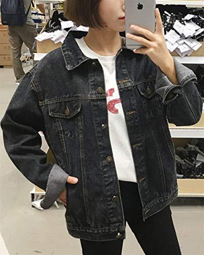 Vintage Lunga Nero Eleganti Cappotto Primaverile Yasminey Outerwear Denim Fidanzato Giacche Donna Women Bavero Giaccone Casuale Baggy Stile Autunno Manica Schwarz Giovane Jeans AH6Pq