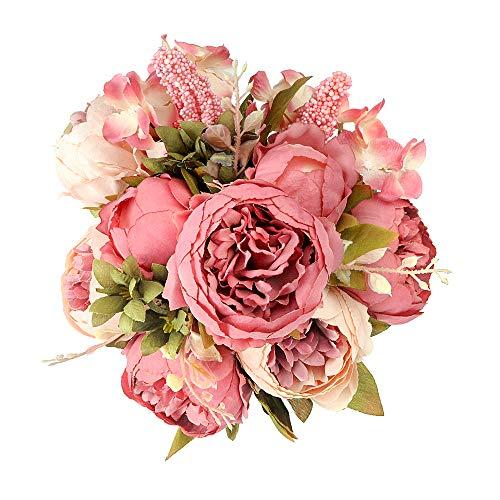Shengyuan Artificial Flowers Fake Silk Peony Flower Bouquet Floral Plants Decor for Home Garden Wedding Party Decor Decoration,Dark Pink (Hydrangea Rose Bouquet)
