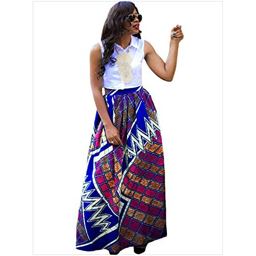 1943e96033a17 new Tubute Womens African Floral Maxi Dress High Waist A Line Long Skirts  with Pockets