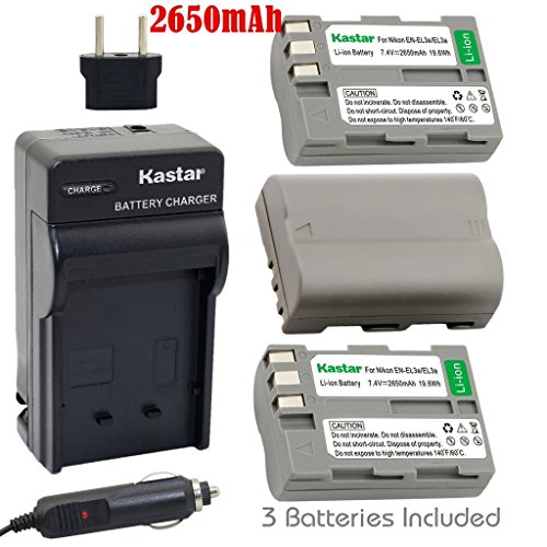 Kastar Battery (3-Pack) and Charger Kit for Nikon EN-EL3e, EN-EL3a, EN-EL3, MH-18, MH-18a work with Nikon D50, D70, D70s, D80, D90, D100, D200, D300, D300S, D700 Cameras and MB-D10, MB-D80 (Nikon Mbd10 Battery Grip)