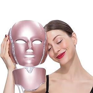 7 Color Light Photon Facial Mask Neck Tool For Daily Beauty Fits Sensitive Oil Dry Skin Reduce Wrinkles Anti-Aging Rejuvenation Nursing Korean Skin Care Device
