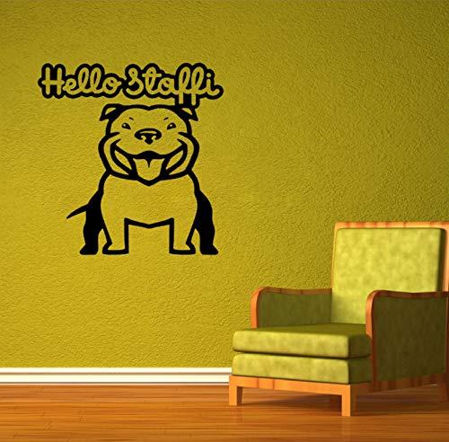 TWJYDP Wall Sticker DIY Hello Stafford Bulldog Art PVC Removable Vinyl Wall Decals 30X45Cm