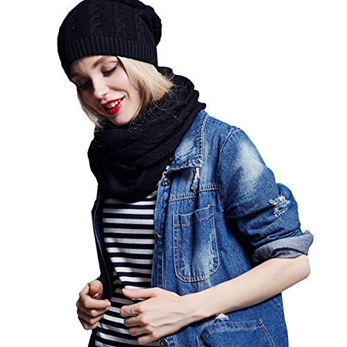 Ysiop Winter Solid Wool Blend Scarf and Beanie Set for Women Black