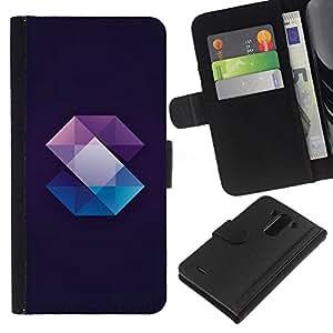 iBinBang / Flip Funda de Cuero Case Cover - Crystal Gemstone Polygon Black - LG Optimus G3