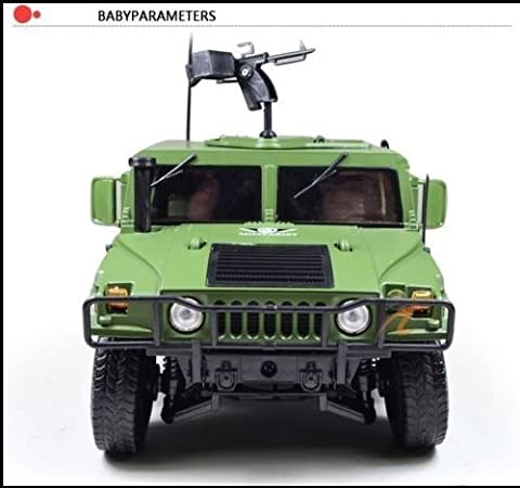 DLPJ 1:18 Iorn Military Hummer with Shocking Absorb Wheels Door Open and 360 Degree Gun Die cast Car Model Scale Car Model Alloy Car Model for (Military Vehicles 1 18)