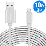 CC-Show 10ft/3m Extra Long Micro USB Charging Cable, Premium Nylon Braided Android Charger USB 2.0A High Speed Data Sync Cord for Android Devices/Samsung/Motorola/Table/Windows/Camera/Reader (White)