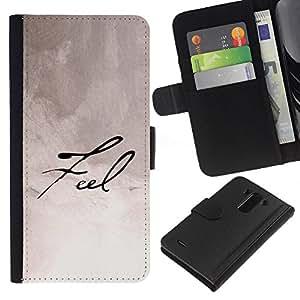 KLONGSHOP // Tirón de la caja Cartera de cuero con ranuras para tarjetas - Siente la caligrafía manuscrita Papel Nota Tinta - LG G3 //