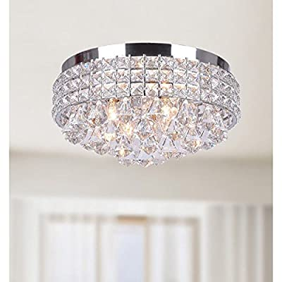 Bright, Shiny Antonia Ornate Crystal Flush Mount Chandelier, Chrome