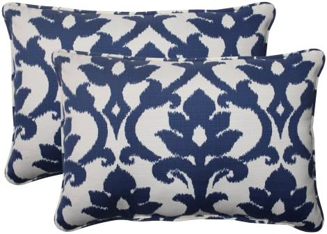 Pillow Perfect Outdoor Indoor Basalto Navy Oversized Lumbar Pillows, 24.5 x 16.5 , Blue, 2 Pack