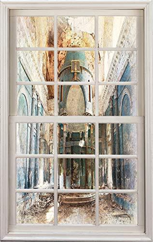 3D Window Decal Wall Sticker,Abandoned Renaissance Era Architecture