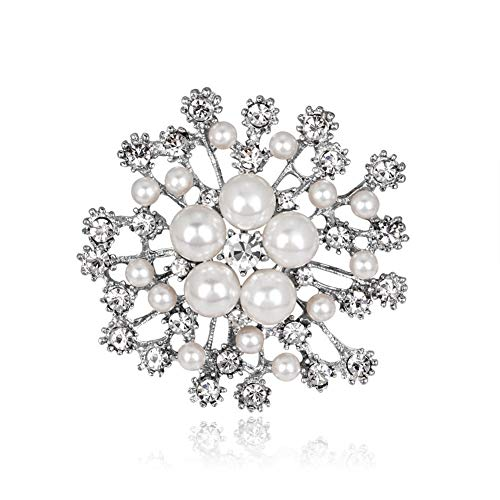 AILUOR Elegant Faux Pearl Flower Brooch Pin, Fashion Silver/Gold-Tone Pearl Floral Crystal Corsage Brooch Lapel Pin for Wedding Bridal Bouquet Jewelry (Silver)