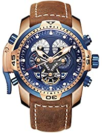 Men's Military Watches Rose Gold Tone Complicated Blue Dial Watch Automatic Sport Watches RGA3503 (RGA3503-PLSB)