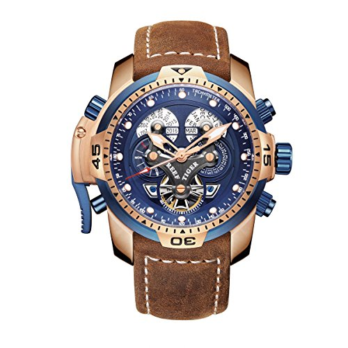 Reef Tiger Men's Military Watches Rose Gold Tone Complicated Blue Dial Watch Automatic Sport Watches RGA3503 (RGA3503-PLSB) Automatic Sports Mens Watch