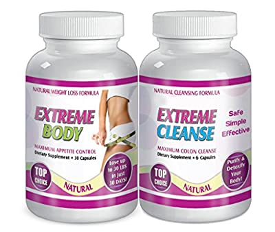 Extreme Cleanse and Body Control Dietary supplements total of 120 Capsules Dietary supplement for 30 days, Control Your Appetite, NATURAL CLEANSING FORMULA