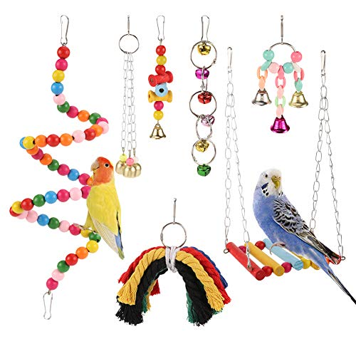 XQL Bird Swing Chewing Toys, 7 Pcs Parrot Hammock Bell Toys, Parrots Chewing Hanging Perches with Bells Toys