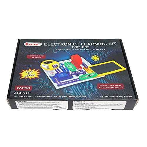 KEESS Electronics Learning Kit for Kids, Best Educational Electric Building Blocks to Learn about Electricity and Circuits, 41 pcs, W688