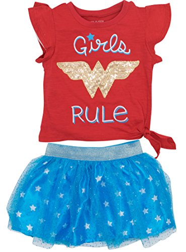 Wonder Woman Toddler Girls' Fashion T-Shirt and Tulle Skirt Set, Red (2T)