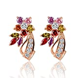 100 wilton cookie cutters - Winter's Secret 18K Rose Gold Colorful Zircon Accented Romantic Flower Lovely Stud Earrings