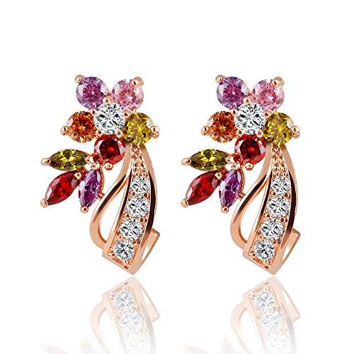 Winter's Secret 18K Rose Gold Colorful Zircon Accented Romantic Flower Lovely Stud Earrings