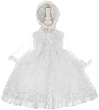 57544cb13e8 Little Baby Girls Virgin Mary Lace Embroidery Baptism Christening Dresses  White 0 (STKH58)