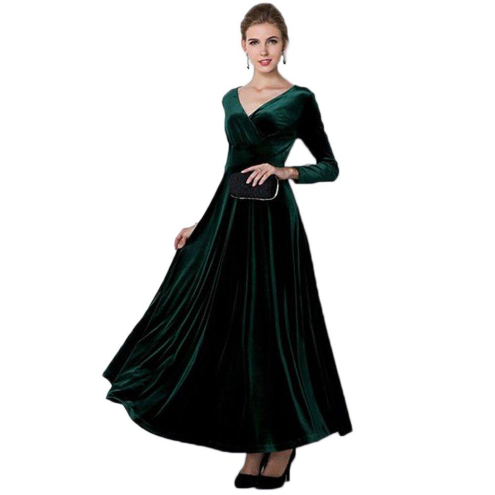 V Neck Long Sleeve Empire Waist Full Length Party Clubwear Pleuche Dress, Tag M, Blackish Green