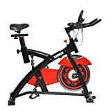 Soozier Pro Upright Stationary Exercise Cycling Bike w/ LCD Monitor – Black and Red For Sale