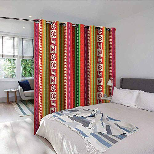 Native American Blackout Gromets Curtain Living Room Drapes, South American Star Animal Motifs Vermilion and Lime Green Stripes Light Darkening Curtains, Goldenrod Fuchsia, W72 x L84 Inches