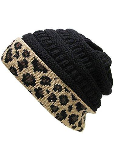 Black Basic Knit Beanie - K&B Soft Stretch Cable Knit High Bun Ponytail Beanie Hat Cheetah Leopard (Basic Black)