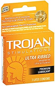 Trojan Stimulations Ultra Ribbed Lubricated Condom, 3 Count (Pack of 6)