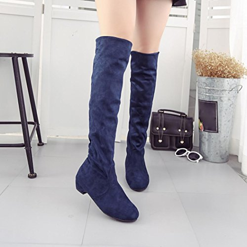 Deesee (tm) Femmes Hiver Automne Bottes Plates Chaussures Haute Jambe Daim Courtes Longues Bottes Bleu