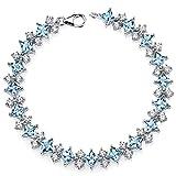 13.50 Carats Swiss Blue Topaz Bracelet Sterling Silver Rhodium Nickel Finish CZ Accent