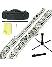 Sky Nickel Plated Silver Keys Closed Hole C Flute with 1 Year Manufacturer Warranty, Guarantee Top Quality Sound with Lightweight Case, Cleaning Rod, Cloth, Joint Grease and Screw Driver
