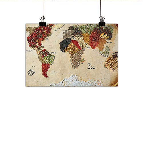 (Littletonhome World Map Wall Art Decor Poster Painting Map of World Different Spices Design with Food Symbols Bohemian Style Artwork Decorations Home Decor 27