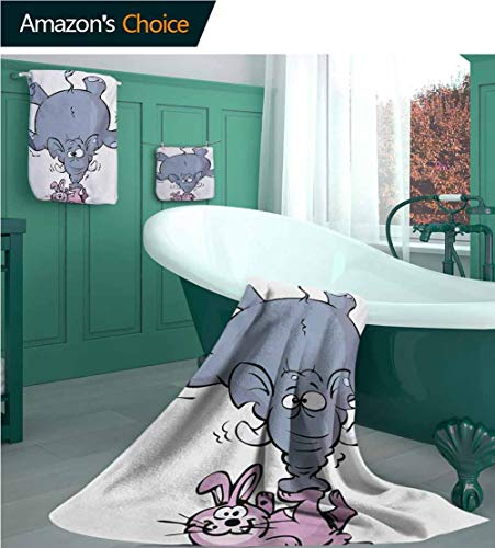 Customblanket Nursery 3 Piece Bath Towel Set, Giant Elephant Balancing on Tiny Rabbit with Its Trunk Caricature Drawing Style, Picture Print Bath Towel 3D Digital Printing Set Bluegrey Pink