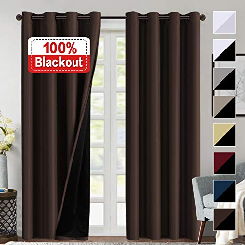 - 100% Blackout Curtains Thermal Insulated Window Treatment Panels Draperies 96 inch Doulbe Layer Blackout Lined Curtains Brown Curtains Faux Silk Satin with Black Liner, Grommet Top, 2 Panels