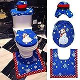 VALORCASA Snowman Toilet Seat Cover Rug Set