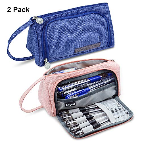 Pencil Case, 2 Pack Big Capacity Pencil Pouch Bag Box Organizer Holder for Office School Supplies Pen Pencil Cases Cute Pink and Blue